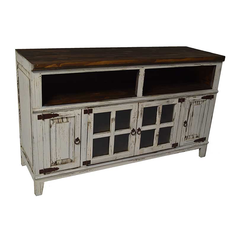 Texas Rustic Antique White Hacienda TV Cabinet